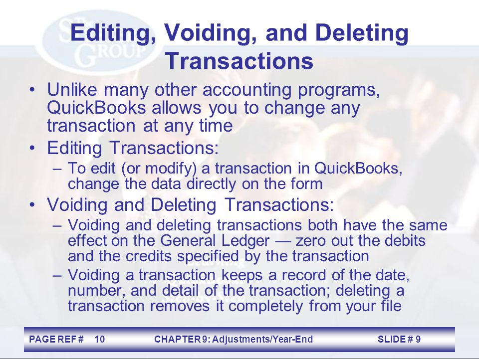 Editing, Voiding, and Deleting Transactions