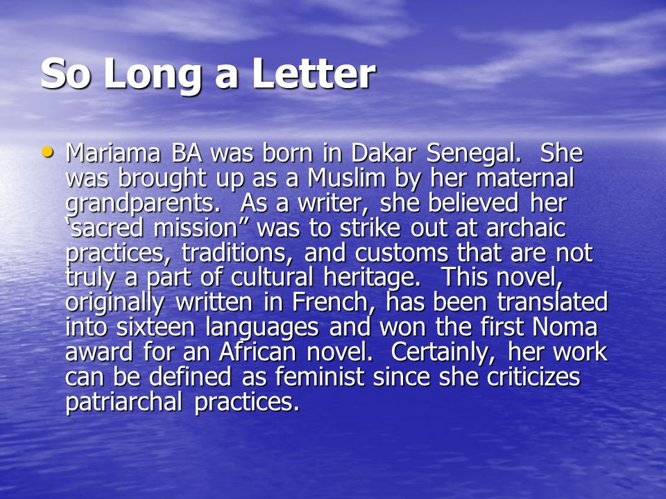 so long a letter post colonial s literature as a tool for assisting 12908 | So Long a Letter