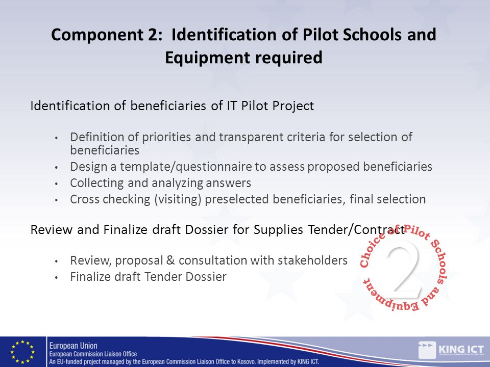 Component 2: Identification of Pilot Schools and Equipment required