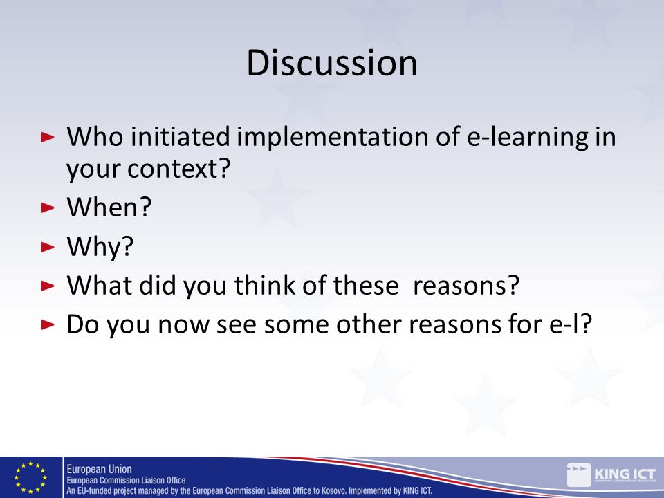 Discussion Who initiated implementation of e-learning in your context