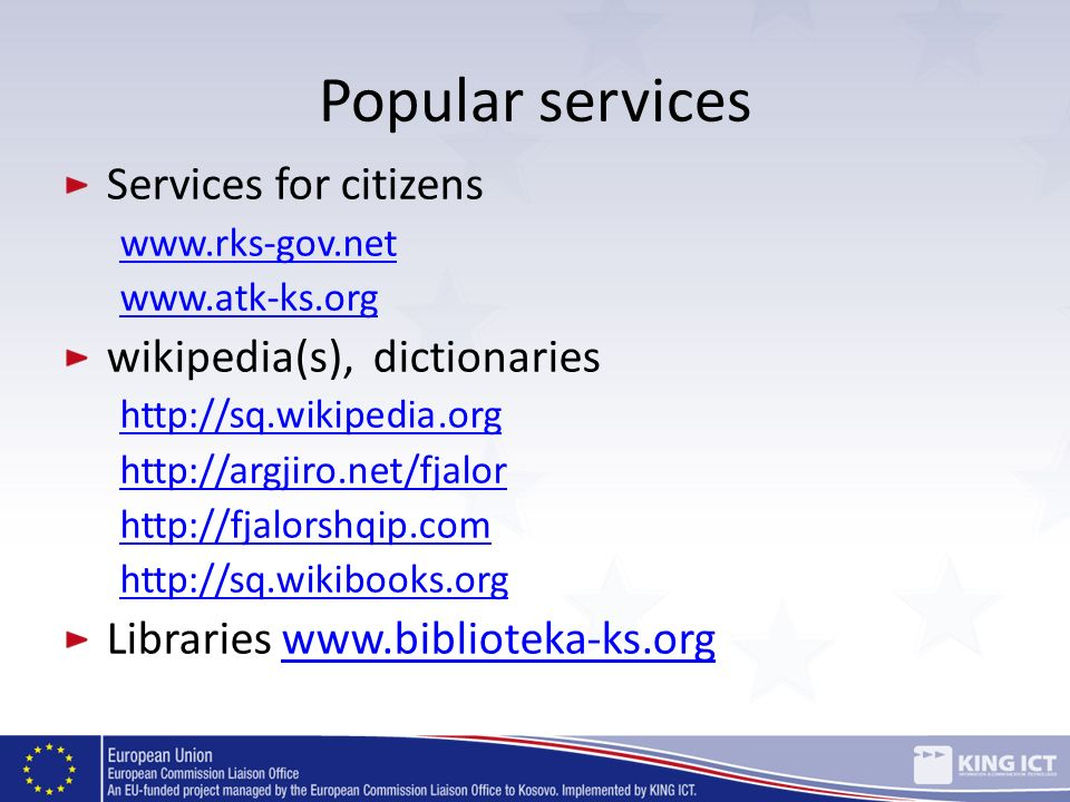 Popular services Services for citizens wikipedia(s), dictionaries