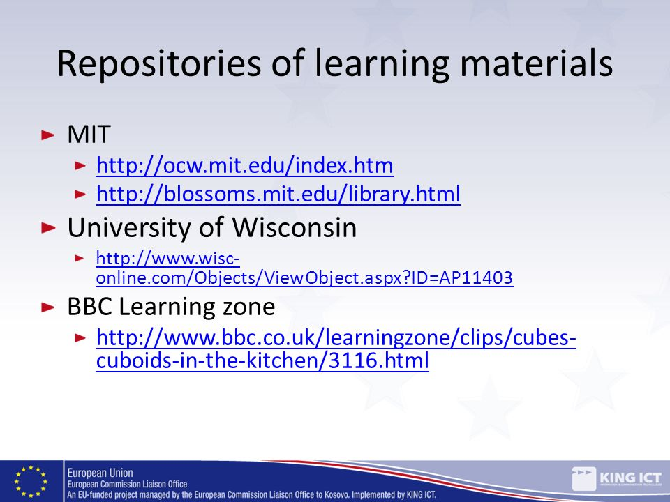 Repositories of learning materials