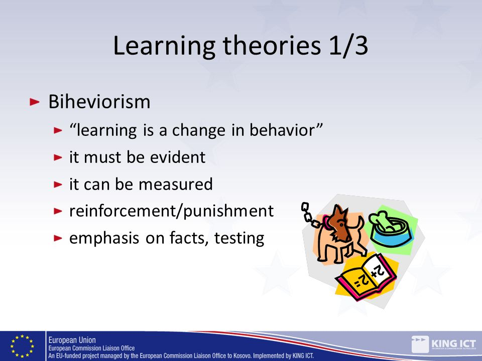 Learning theories 1/3 Biheviorism learning is a change in behavior