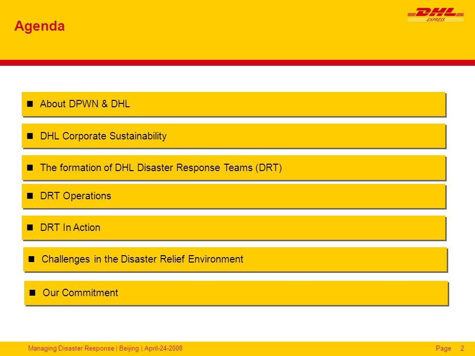 Agenda About DPWN & DHL DHL Corporate Sustainability