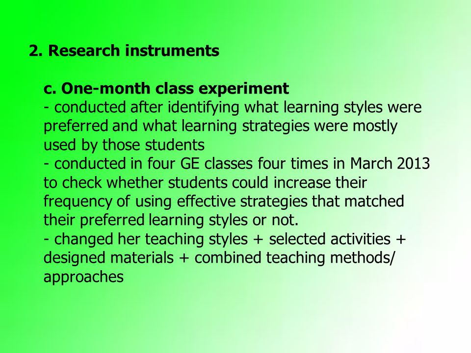 A STUDY ON THE MISMATCH BETWEEN PREFERRED LEARNING STYLES AND
