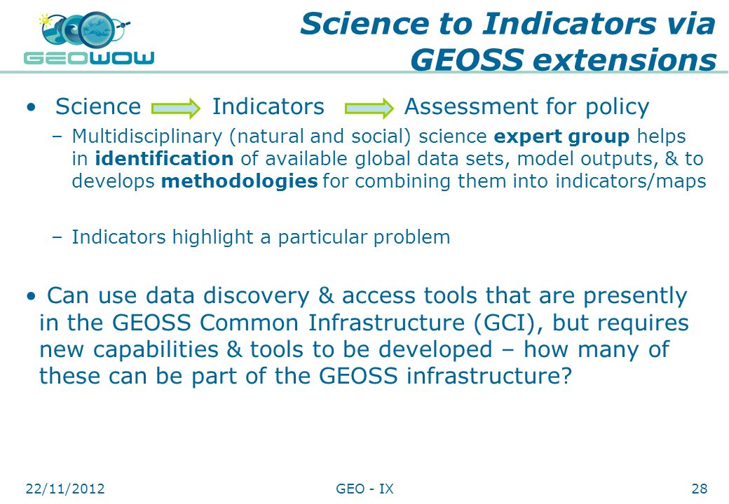 Science to Indicators via GEOSS extensions