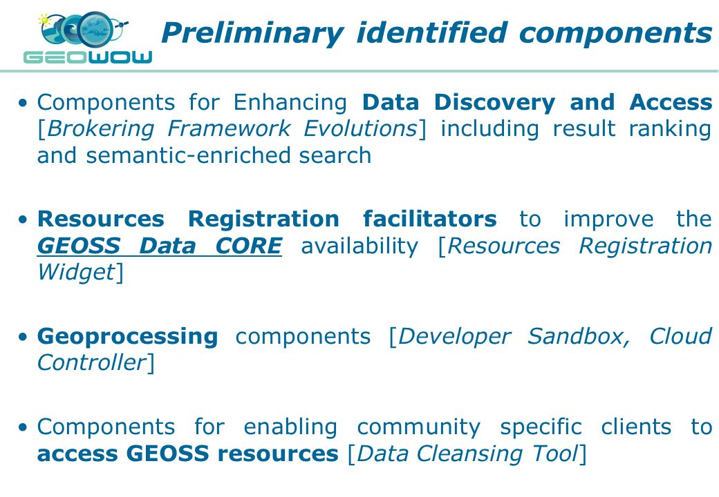 Preliminary identified components