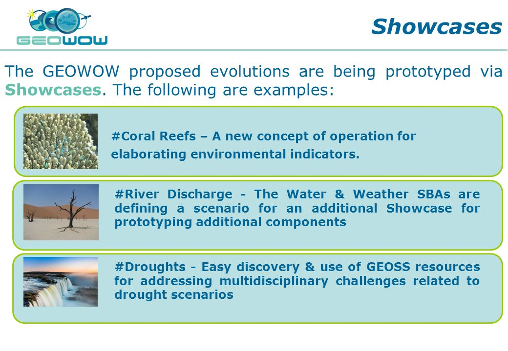 Showcases The GEOWOW proposed evolutions are being prototyped via Showcases. The following are examples:
