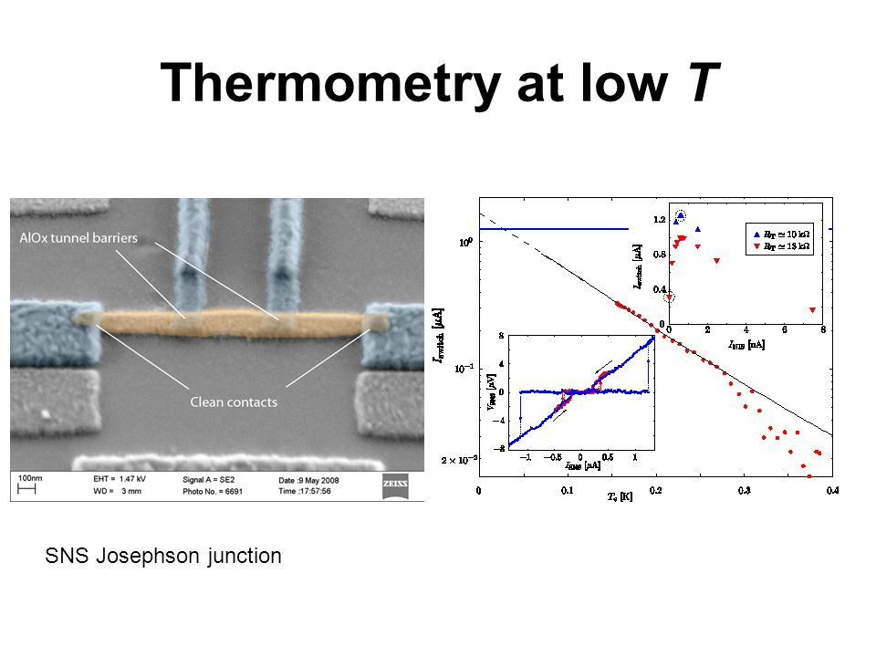 Thermometry at low T SNS Josephson junction