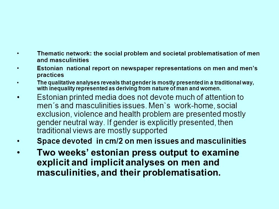 Thematic network: the social problem and societal problematisation of men and masculinities
