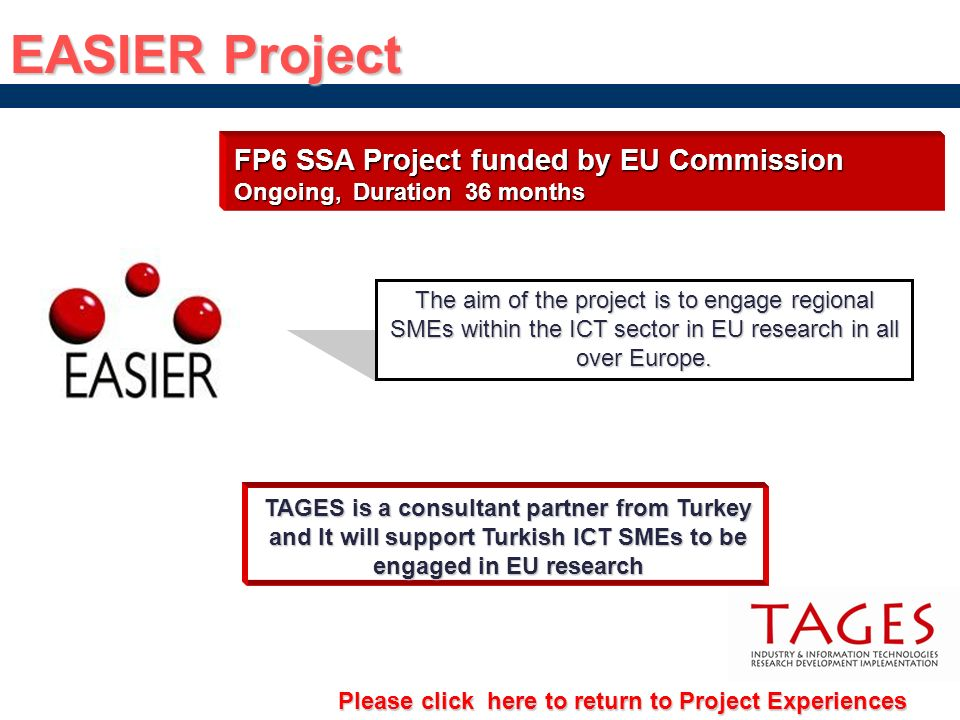 EASIER Project FP6 SSA Project funded by EU Commission