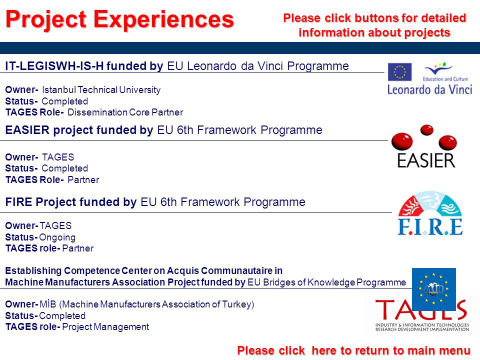 Project Experiences Please click buttons for detailed information about projects. IT-LEGISWH-IS-H funded by EU Leonardo da Vinci Programme.