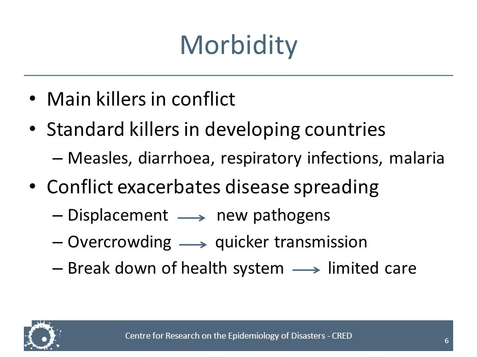 Morbidity Main killers in conflict
