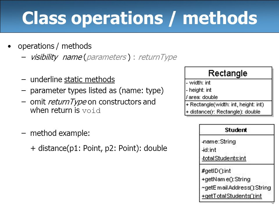 Cse 403 lecture 7 uml class diagrams reading ppt video online class operations methods ccuart Gallery