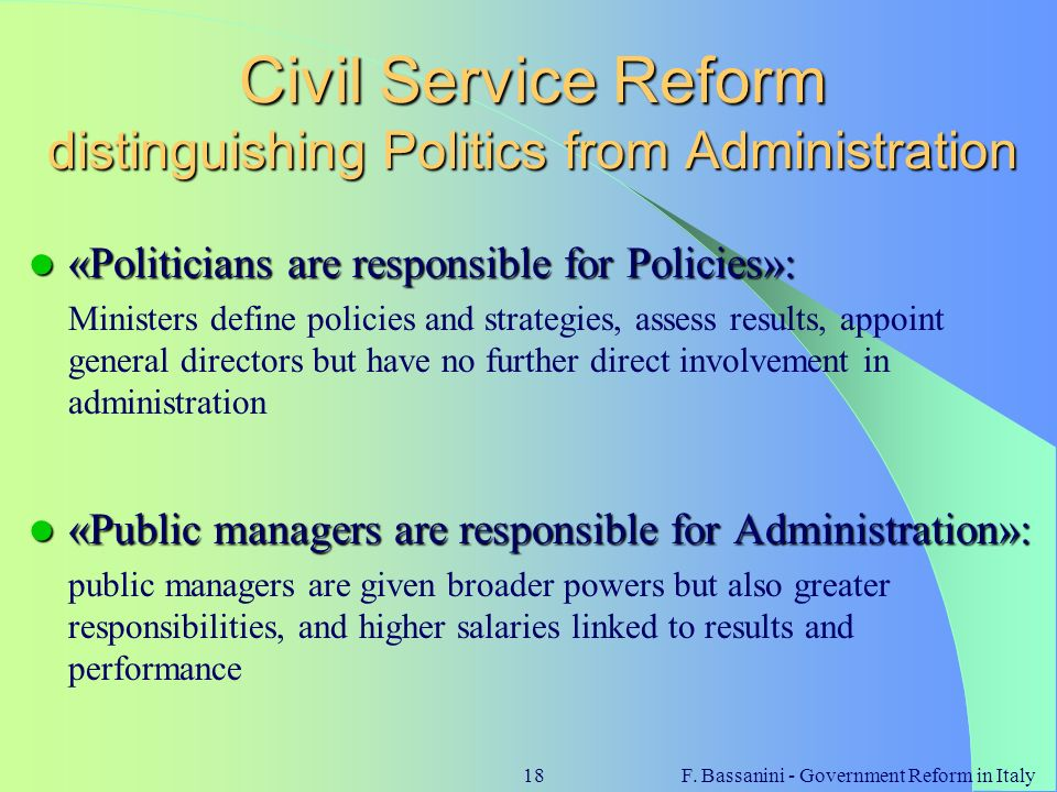 Civil Service Reform distinguishing Politics from Administration