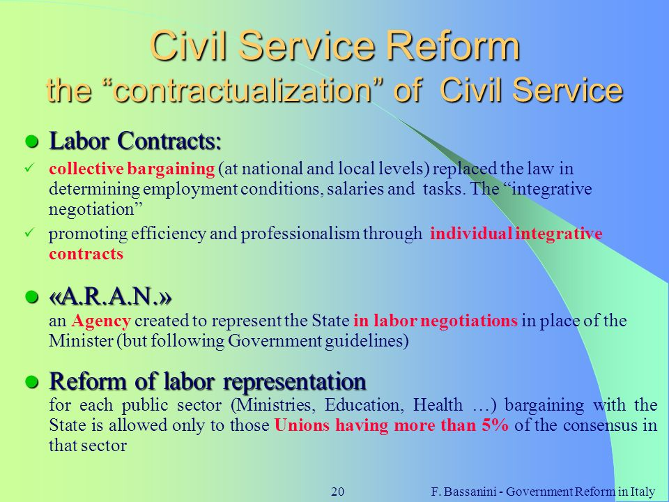 Civil Service Reform the contractualization of Civil Service