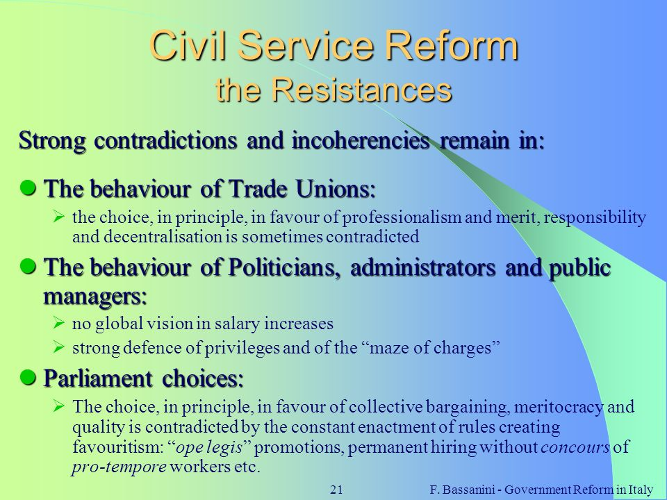 Civil Service Reform the Resistances