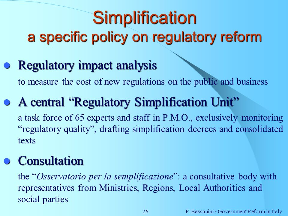 Simplification a specific policy on regulatory reform