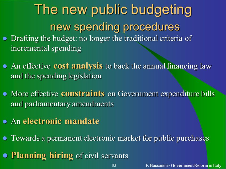 The new public budgeting new spending procedures