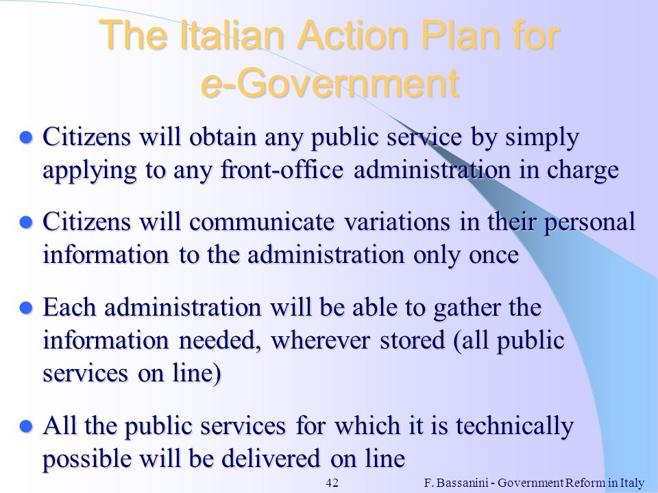 The Italian Action Plan for e-Government