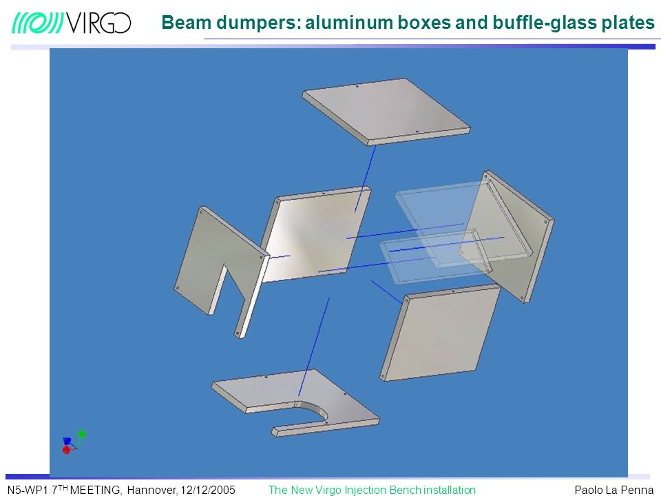 Beam dumpers: aluminum boxes and buffle-glass plates