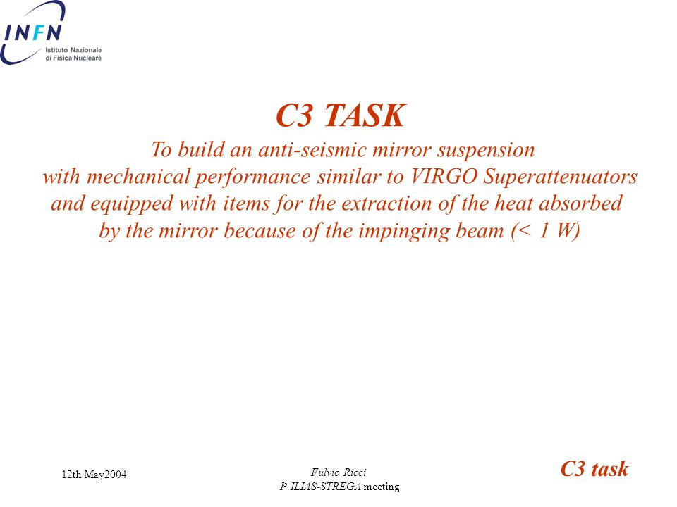 C3 TASK To build an anti-seismic mirror suspension