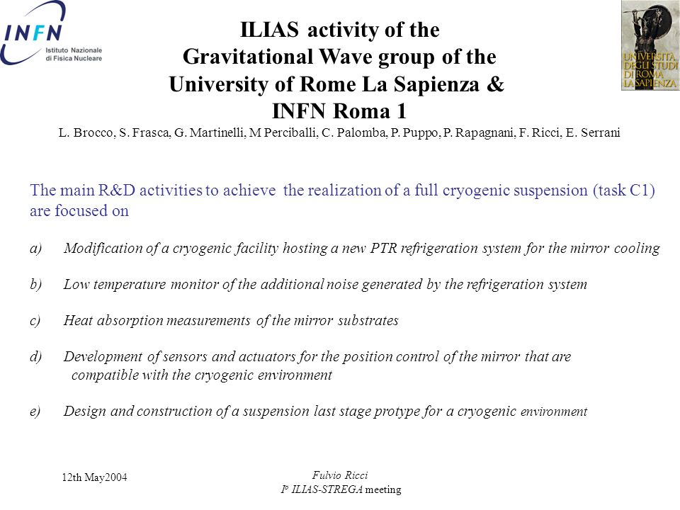 Gravitational Wave group of the University of Rome La Sapienza &