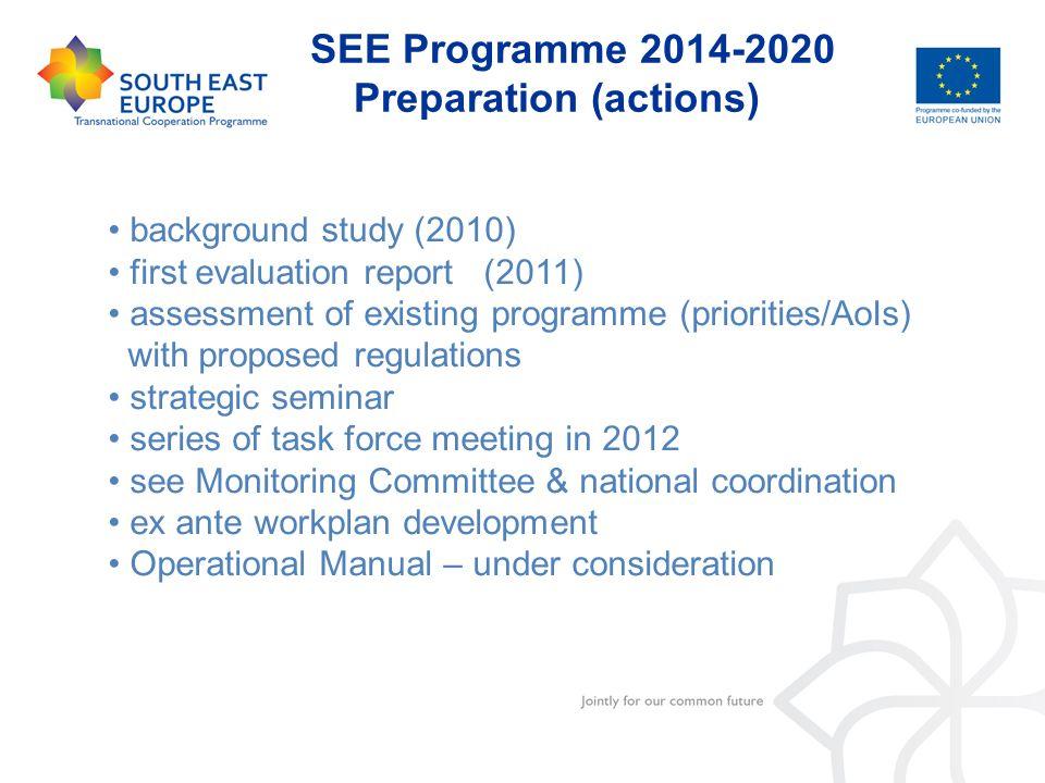 SEE Programme 2014-2020 Preparation (actions)