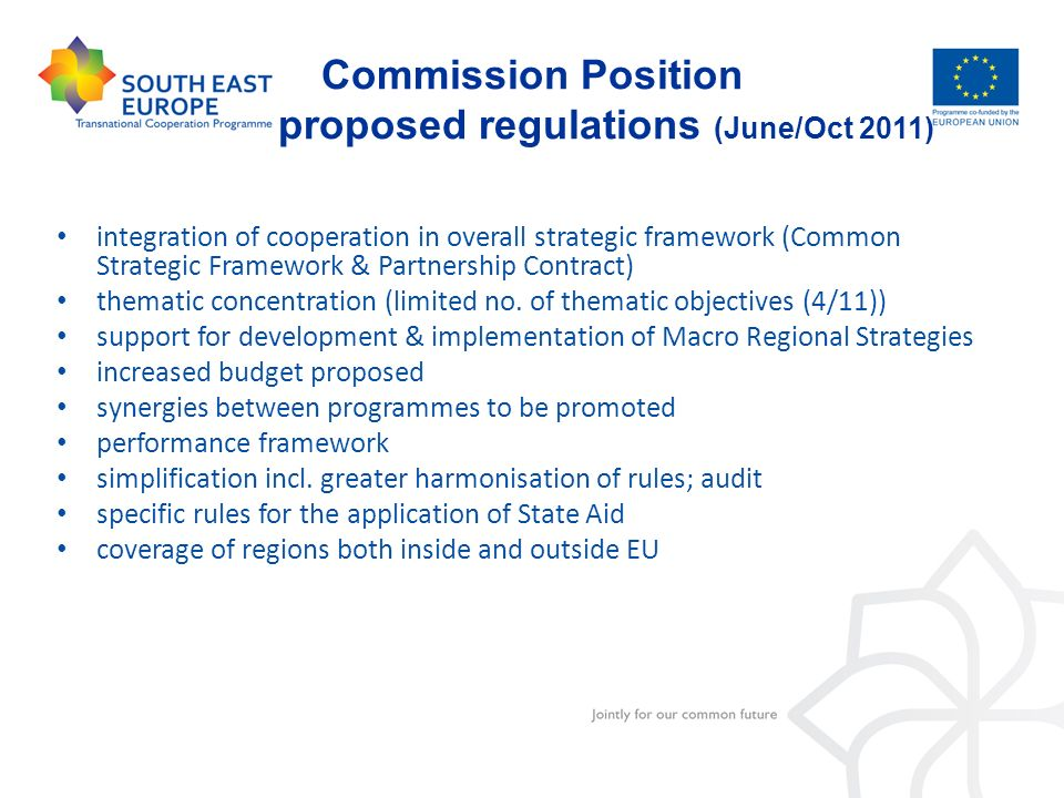 Commission Position proposed regulations (June/Oct 2011)