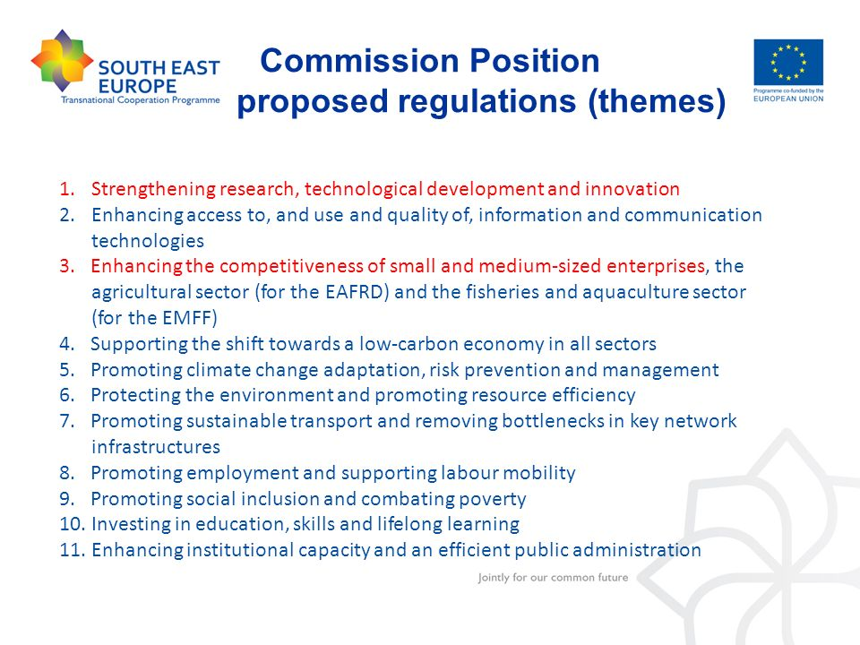 Commission Position proposed regulations (themes)