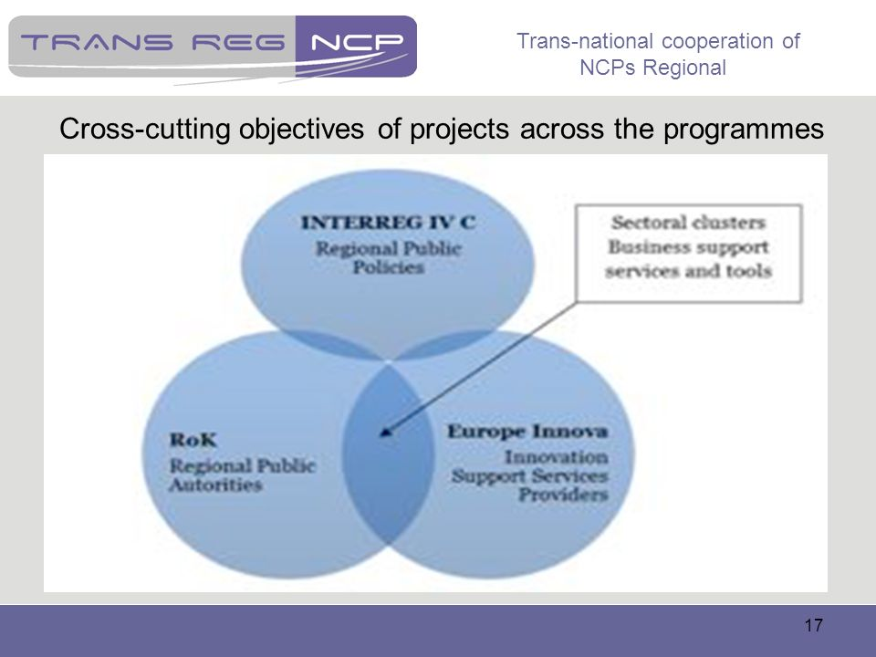 Cross-cutting objectives of projects across the programmes