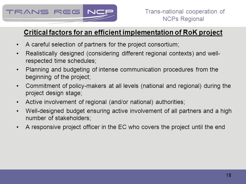 Critical factors for an efficient implementation of RoK project
