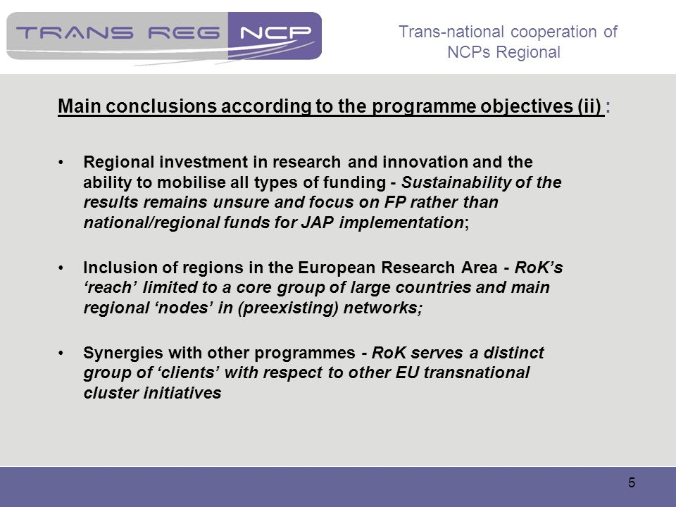 Main conclusions according to the programme objectives (ii) :