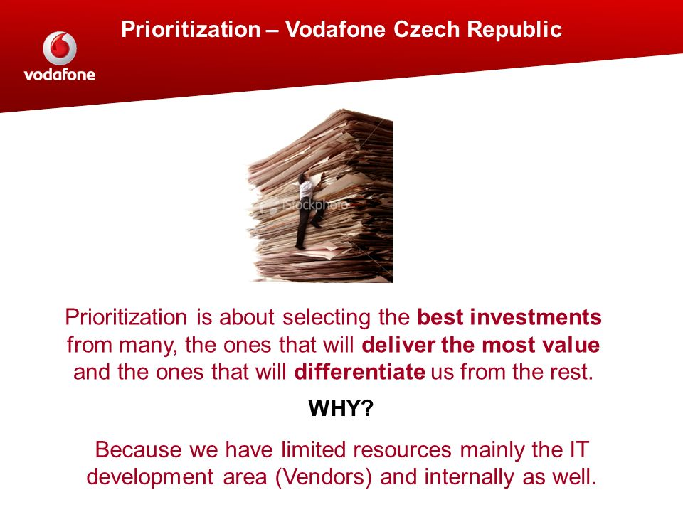 Prioritization – Vodafone Czech Republic