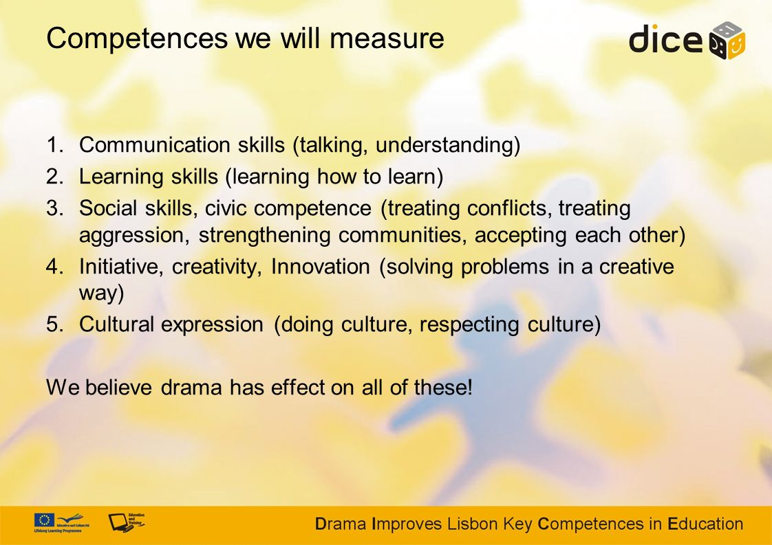 Competences we will measure