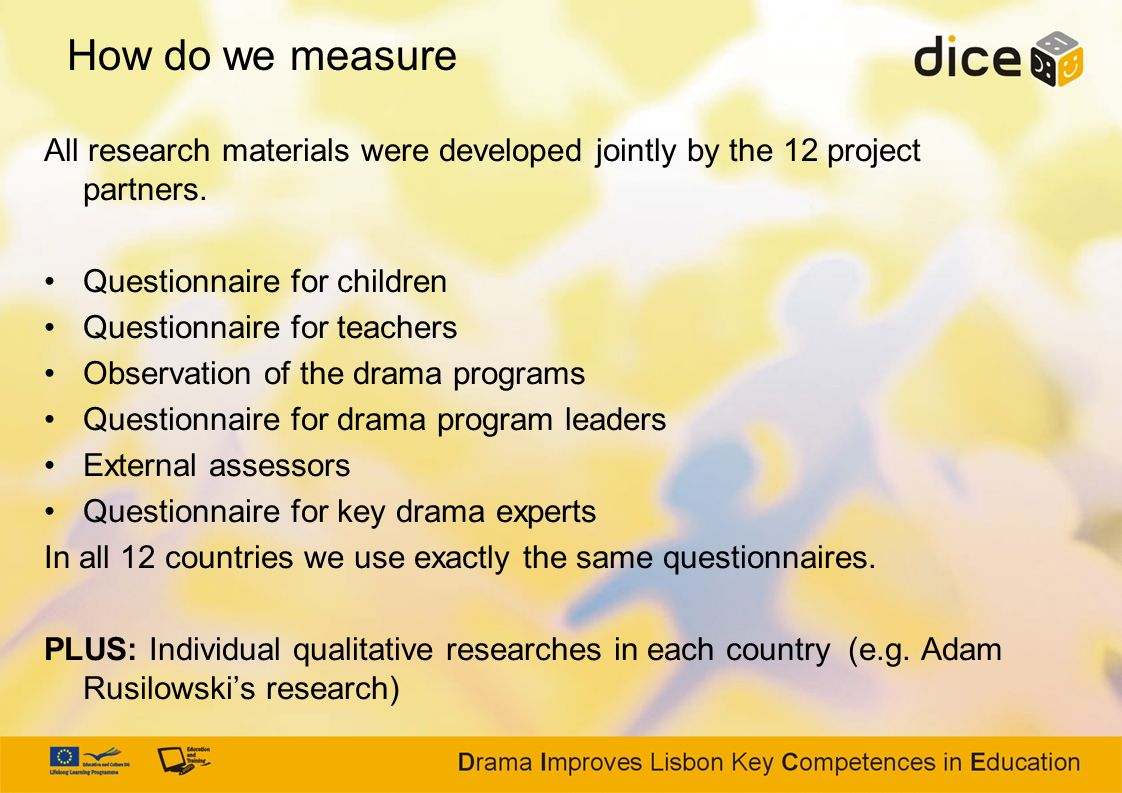 How do we measure All research materials were developed jointly by the 12 project partners. Questionnaire for children.