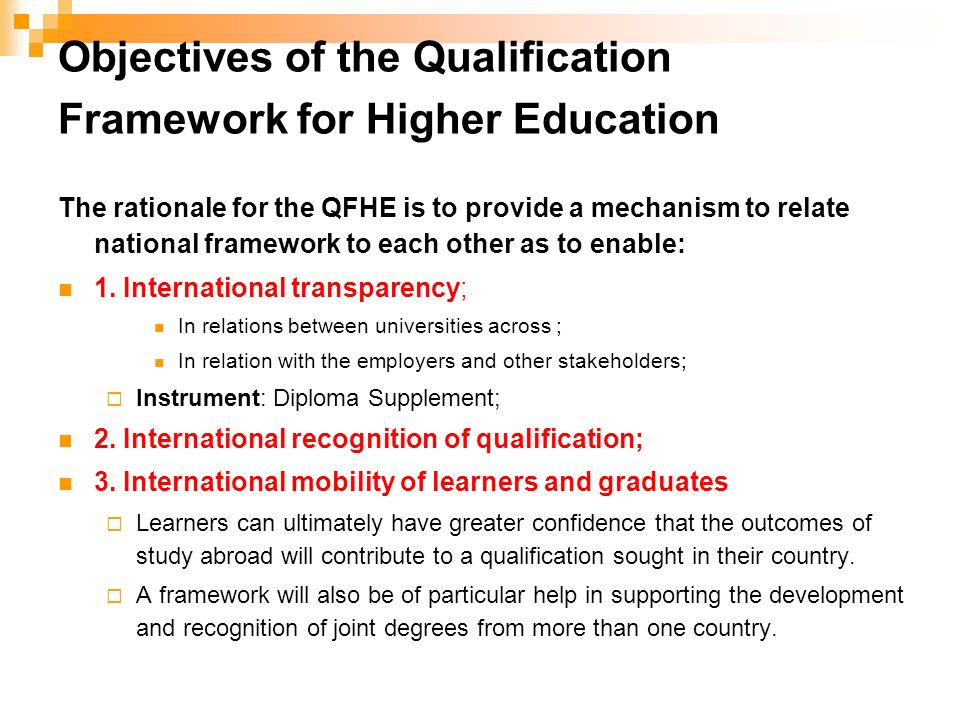 Objectives of the Qualification Framework for Higher Education