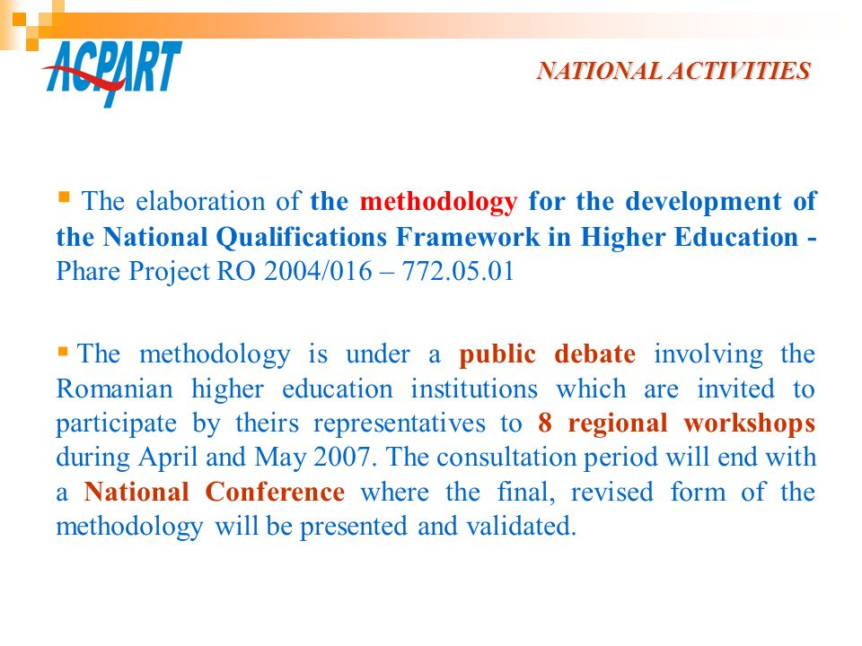 NATIONAL ACTIVITIES