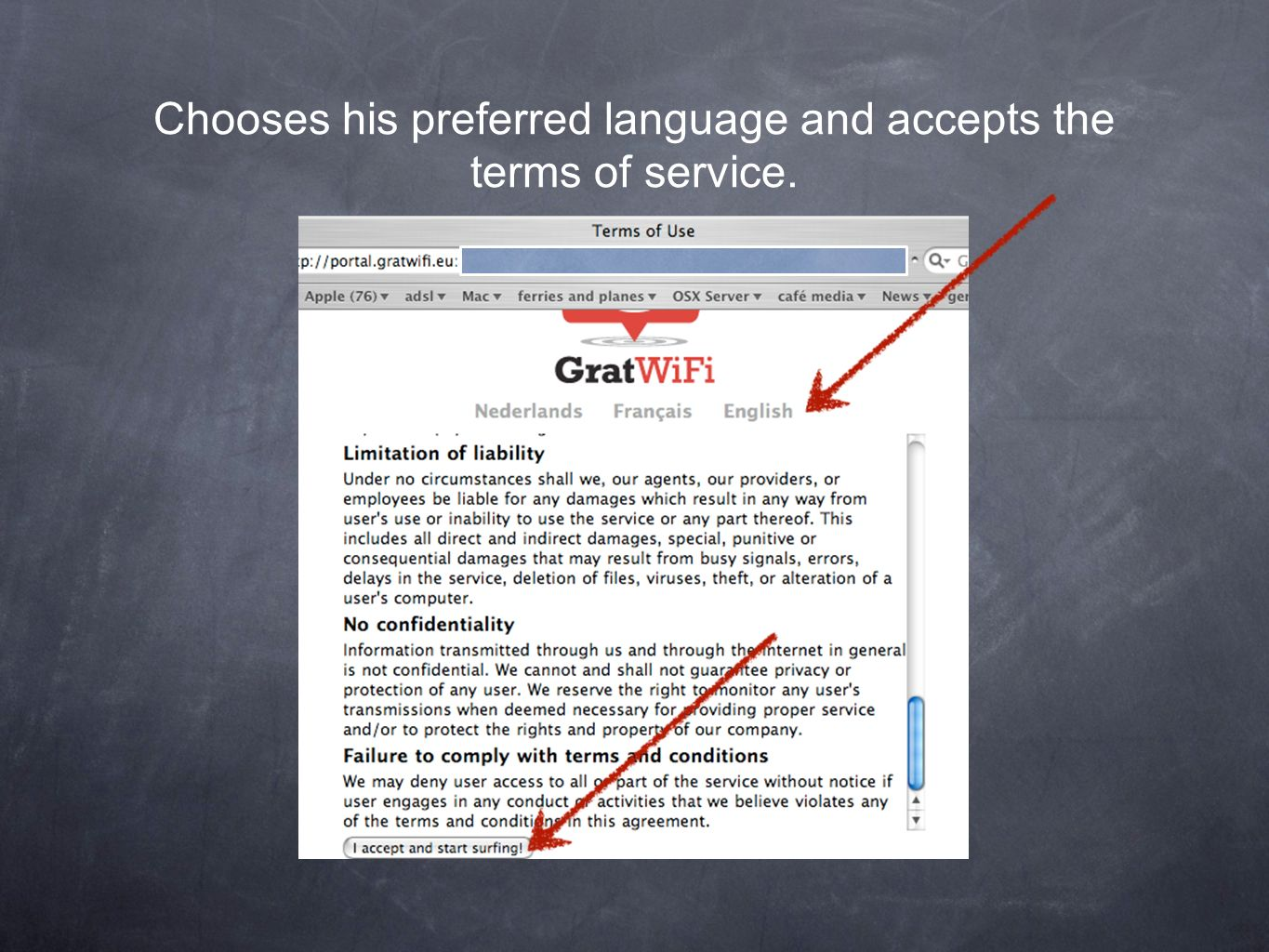 Chooses his preferred language and accepts the terms of service.