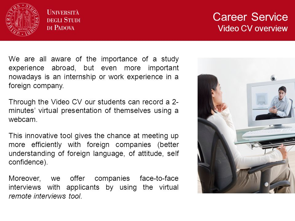Career Service Video CV overview