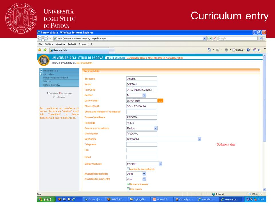 Curriculum entry