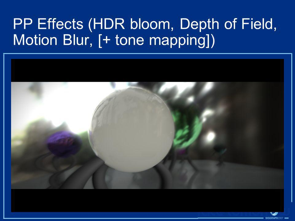 PP Effects (HDR bloom, Depth of Field, Motion Blur, [+ tone mapping])