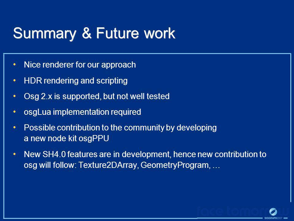 Summary & Future work Nice renderer for our approach