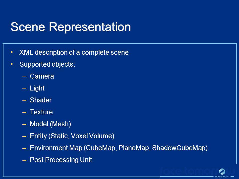 Scene Representation XML description of a complete scene