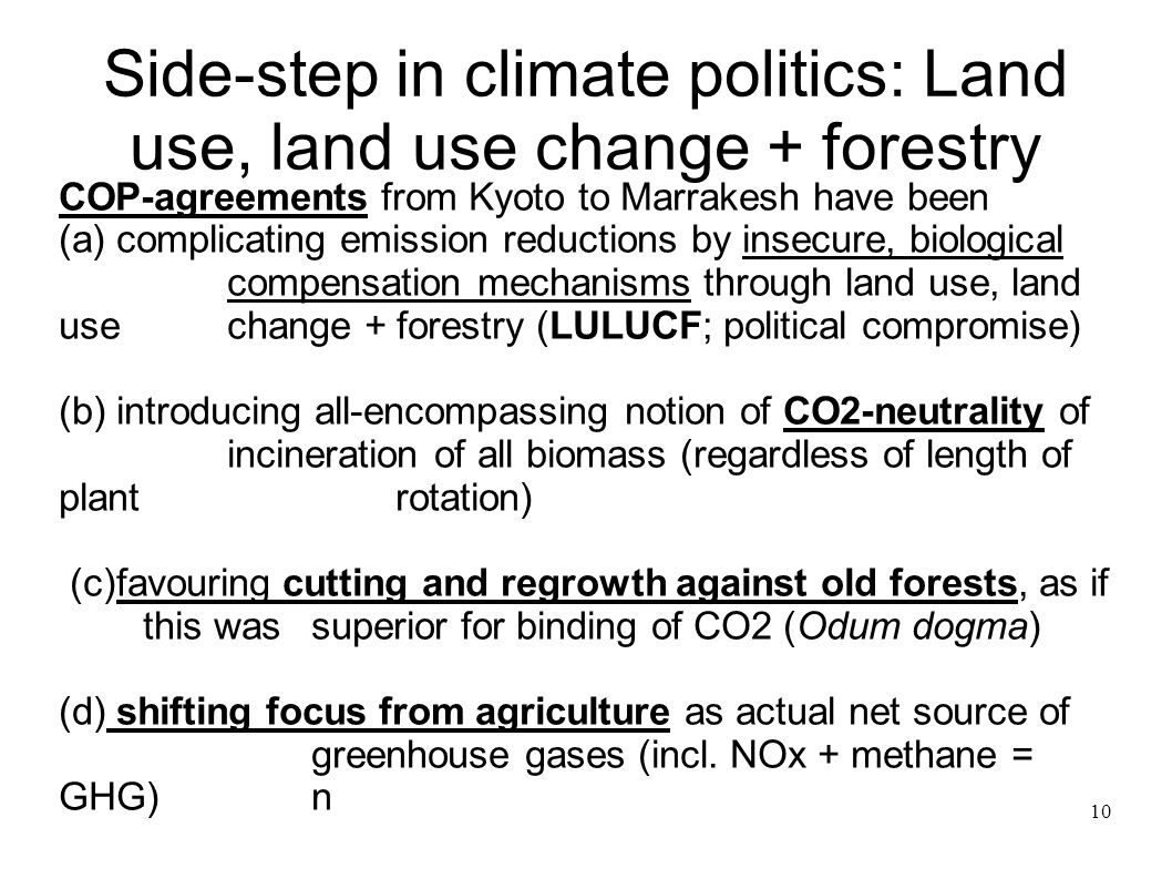 Side-step in climate politics: Land use, land use change + forestry