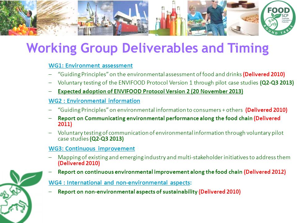 Working Group Deliverables and Timing