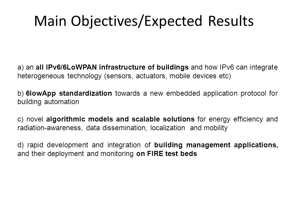 Main Objectives/Expected Results