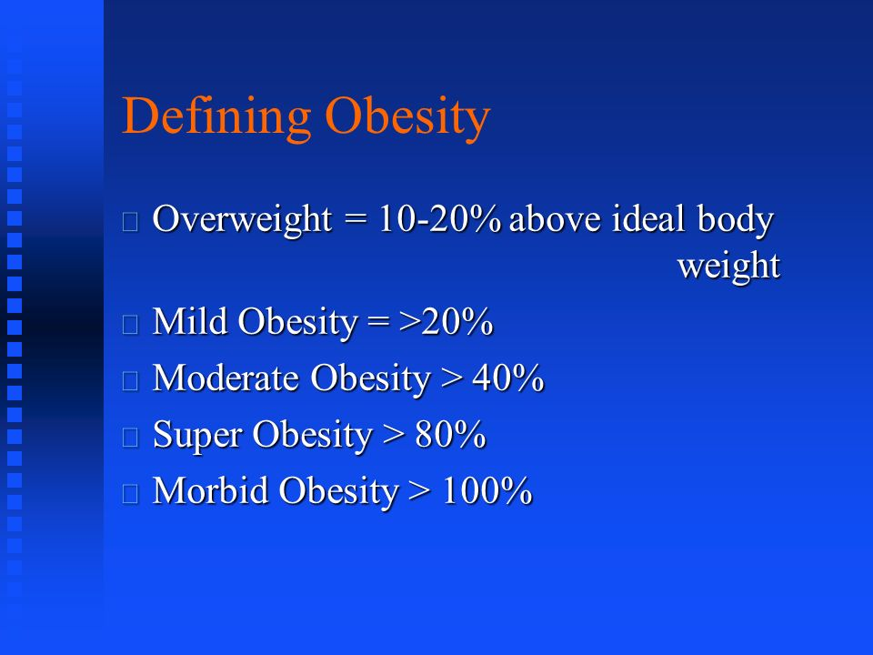 Defining Obesity Overweight = 10-20% above ideal body weight