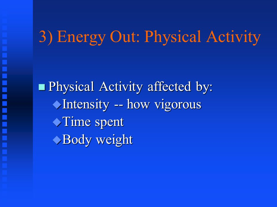 3) Energy Out: Physical Activity