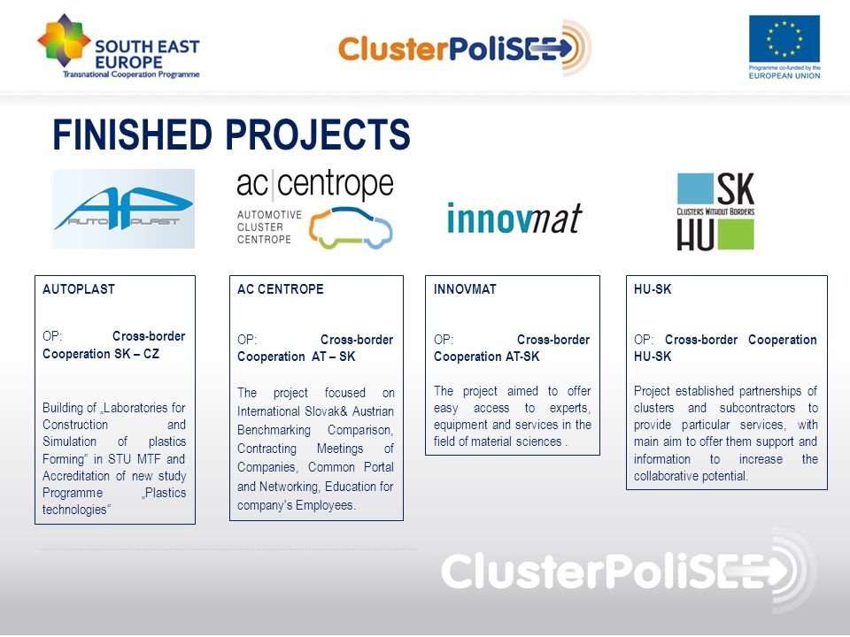 FINISHED PROJECTS AUTOPLAST OP: Cross-border Cooperation SK – CZ